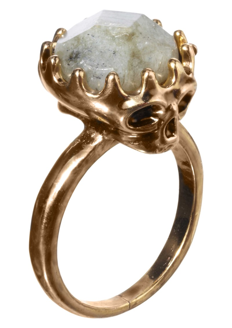 House Of Harlow Stone Top Skull Ring - Gold main image