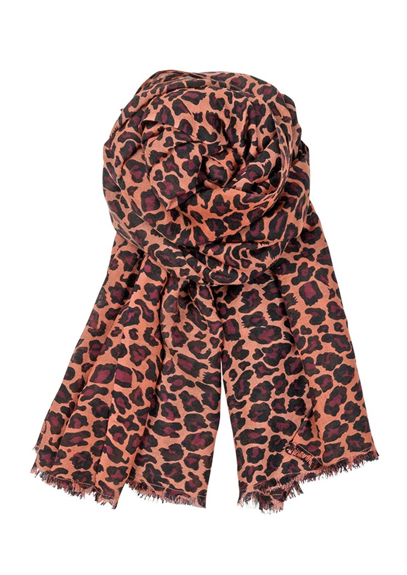 Becksondergaard C Leopard Silk & Wool blend scarf - Pomegranate main image