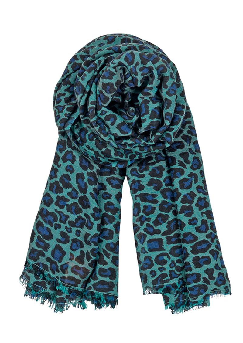 Becksondergaard C Leopard Silk & Wool blend scarf - Dark Petrol main image