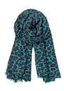 C Leopard Silk & Wool blend scarf - Dark Petrol additional image