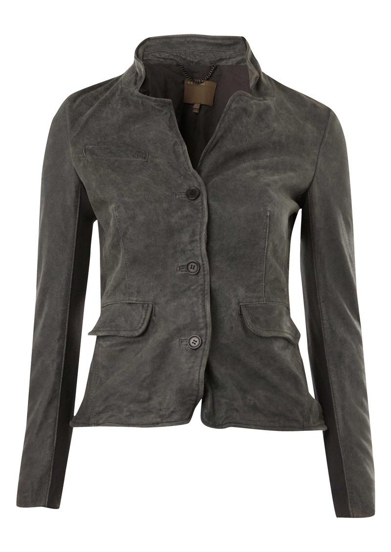 Muubaa Tirana Shrunken Leather Jacket - Grey main image