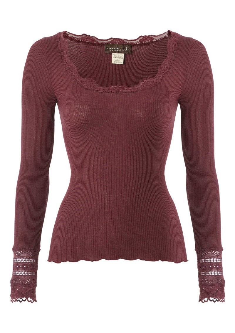 Rosemunde Long Sleeve Silk Blend Lace Top - Soft Wine  main image