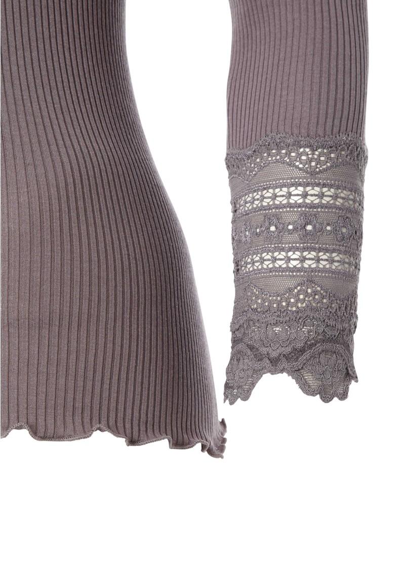 Rosemunde Long Sleeve Silk Blend Lace Top - Purple Grey main image