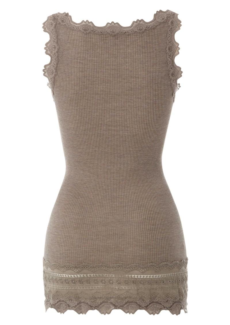 Rosemunde Wide Lace Silk Blend Vest - Brown Melange main image
