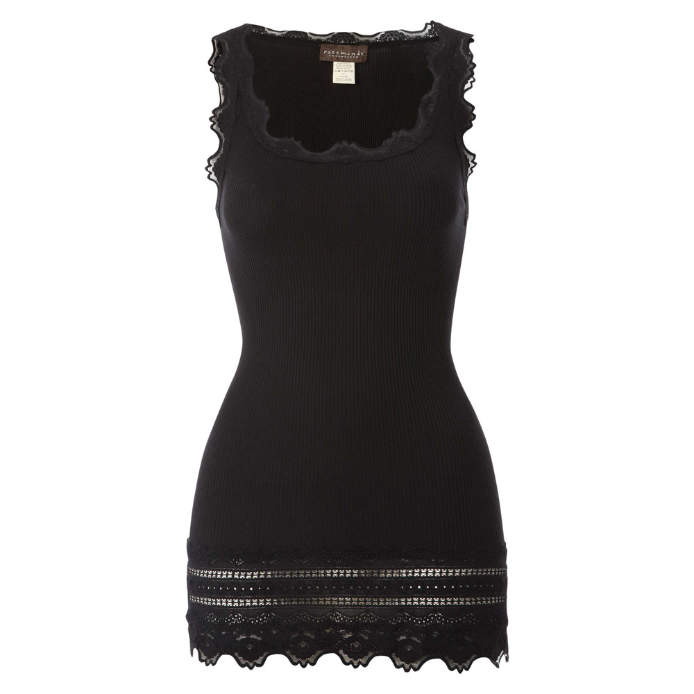 Wide Lace Silk Blend Vest - Black