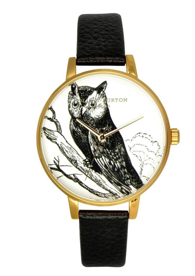 Olivia Burton Owl Motif Watch - Black main image