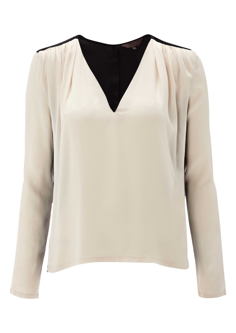 c38d45afe971 Great Plains Gigi Colour Block Blouse in Swansdown Black
