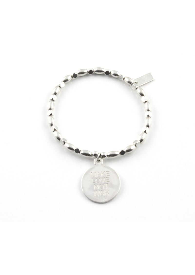 ChloBo Fancy Rice Love Not War Charm Bracelet - Silver main image