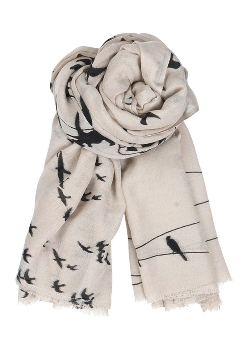 Becksondergaard C Birds on a Wire Wool and Silk Blend Scarf - Cold Sand main image