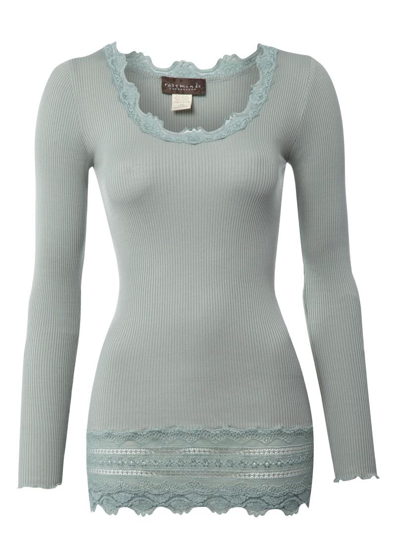 Rosemunde Long Sleeved Silk Blend Lace Top - Iceberg main image