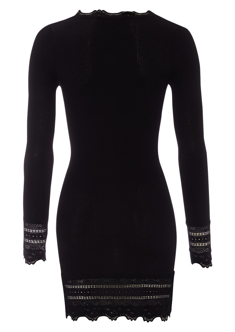 Rosemunde Long Sleeve Mid Thigh Silk Blend T-shirt - Black main image