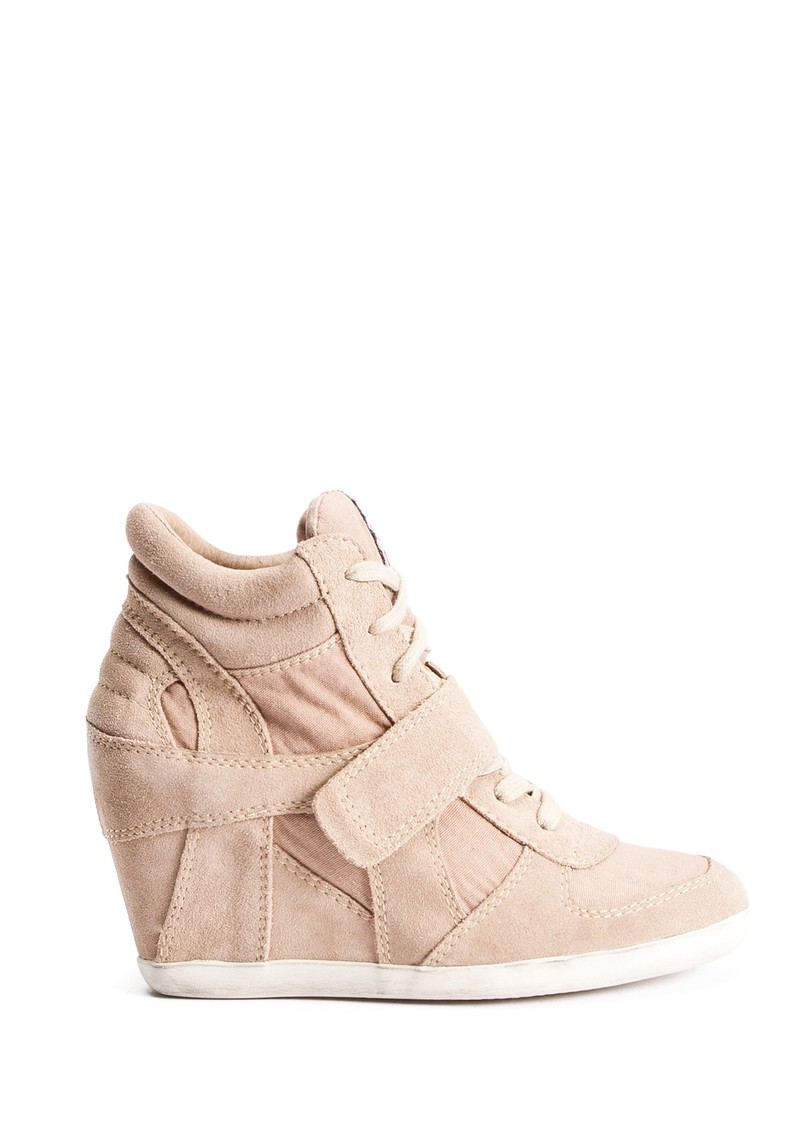 Ash Bowie Canvas and Suede Wedge Trainer - Chamois main image