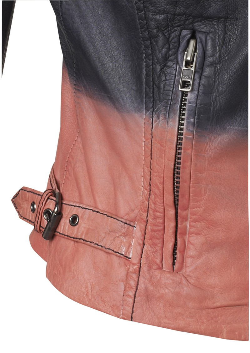 Muubaa Tehmi Tie Dye Leather Jacket - Black & Coral main image