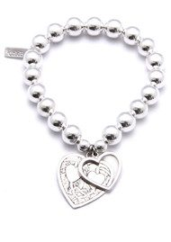 ChloBo Medium Ball Bracelet with Decorated and Open Heart Charms - Silver