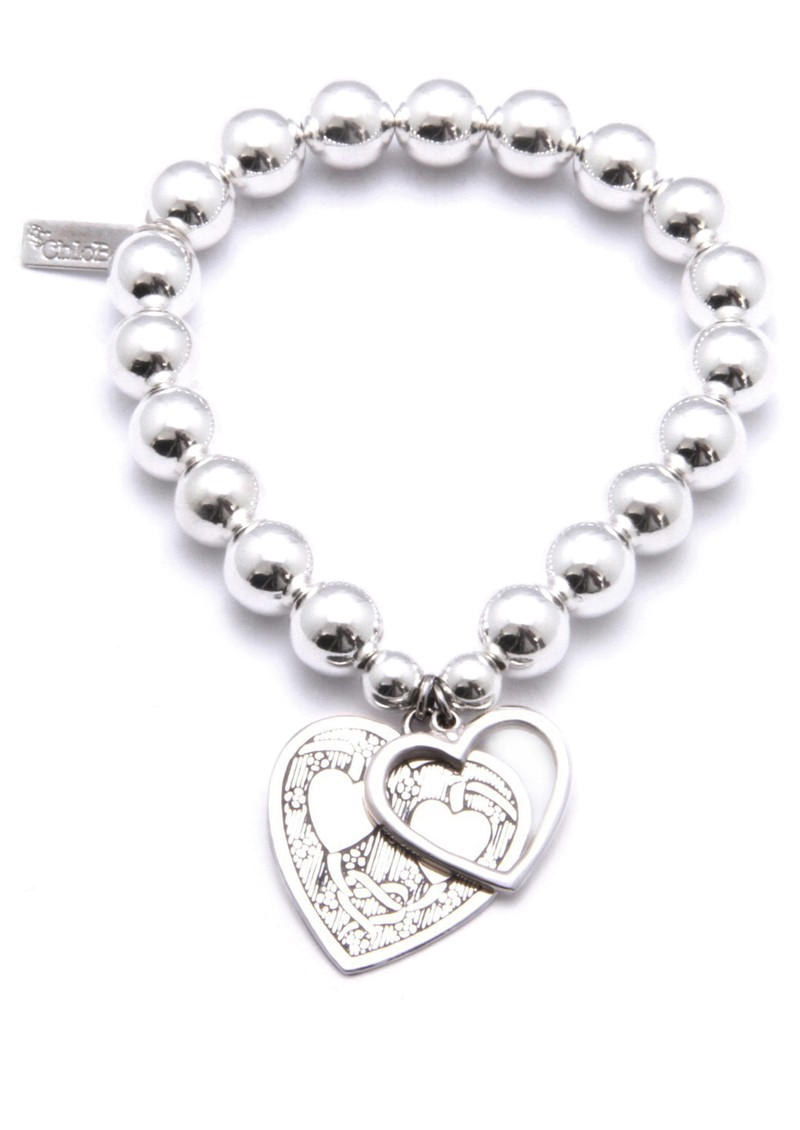 Medium Ball Bracelet with Decorated and Open Heart Charms - Silver main image