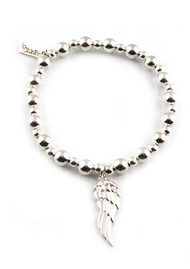 ChloBo Mini Small Ball Bracelet with Angel Wing Charm - Silver