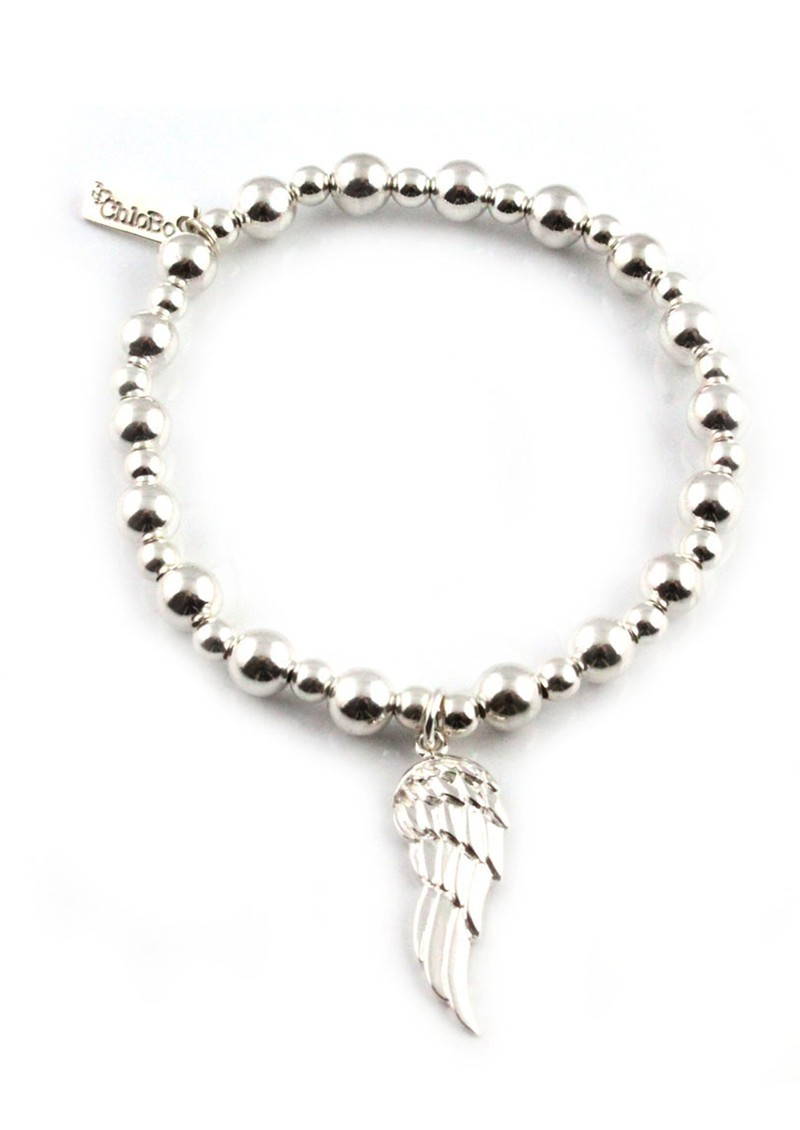 ChloBo Mini Small Ball Bracelet with Angel Wing Charm - Silver main image
