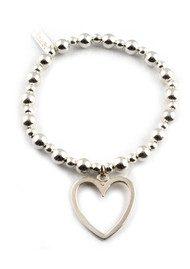 ChloBo Mini Small Ball Bracelet with Open Heart Charm - Silver
