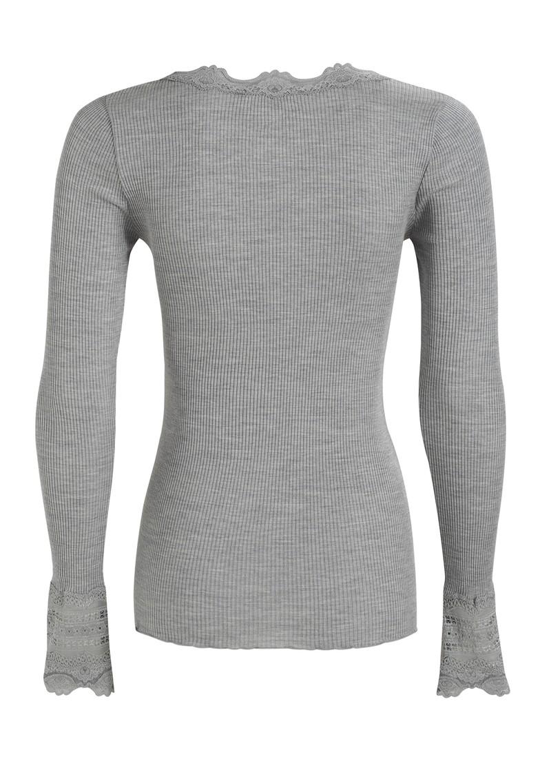 Rosemunde Long Sleeved Silk Blend Lace Top - Light Grey main image