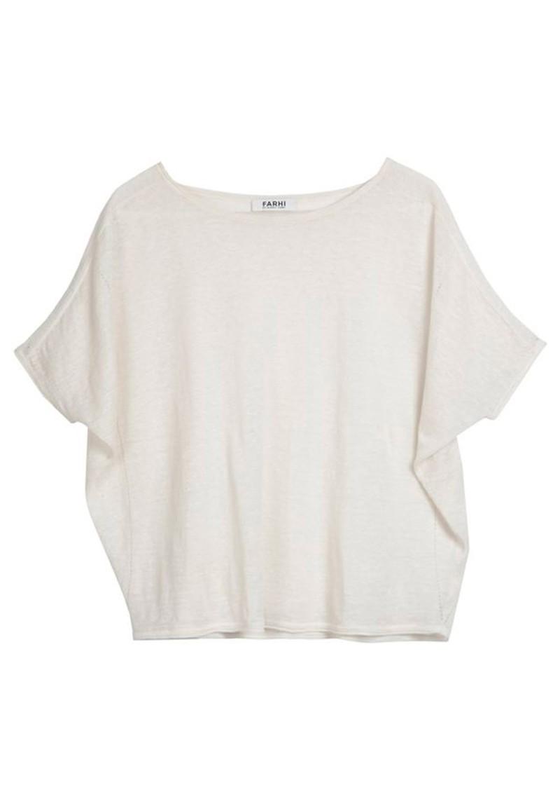 Farhi Linen 3/4 Sleeve Top - White main image
