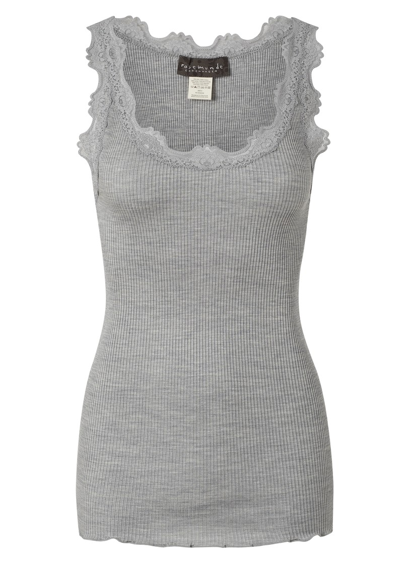 Silk Blend Lace Vest - Light Grey main image