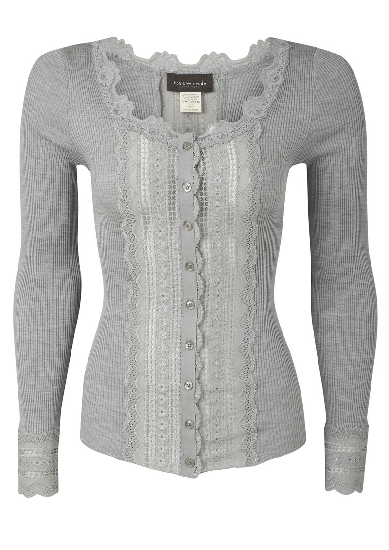 Long Sleeved Silk Blend Wide Lace Cardigan - Light Grey main image