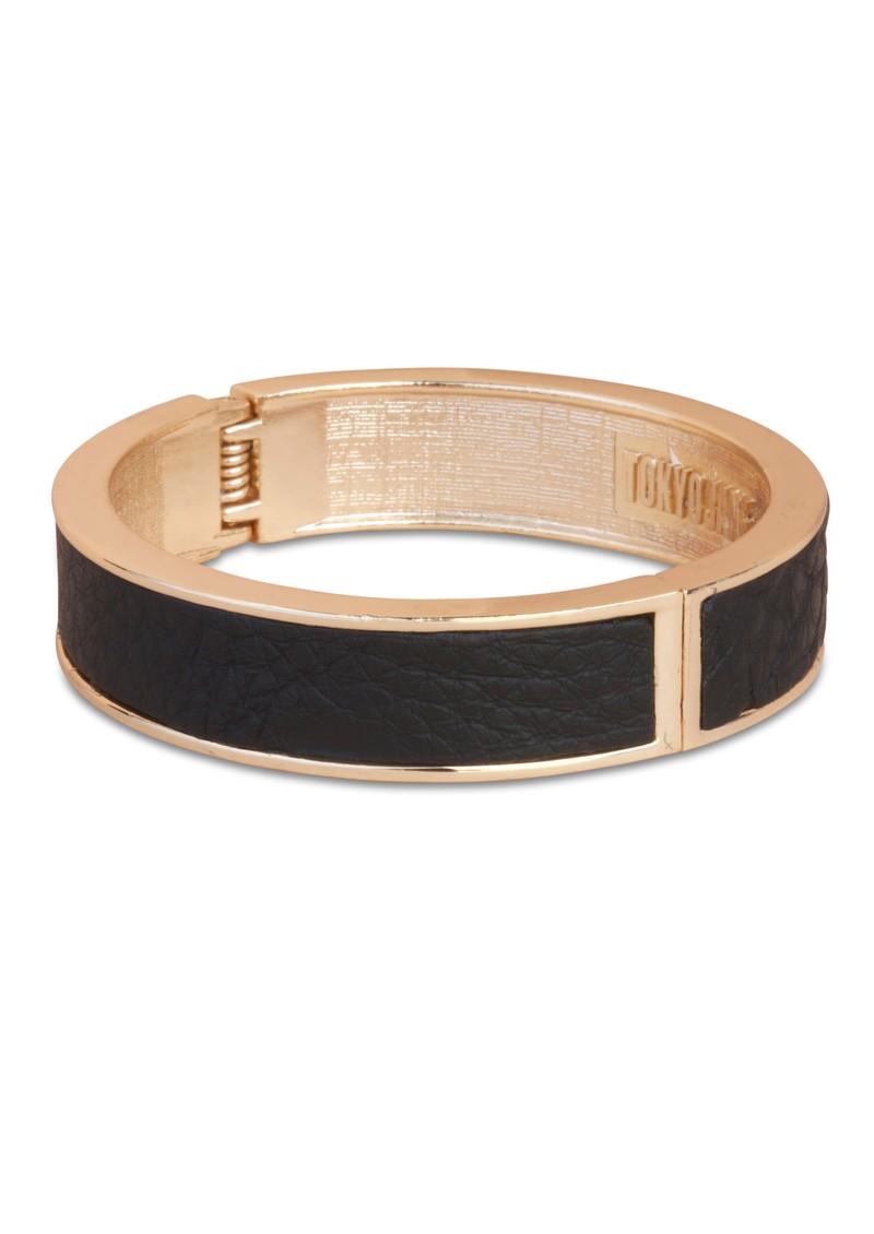 Tokyo Jane Evelyn Slim Leather Bangle - Gold & Black main image