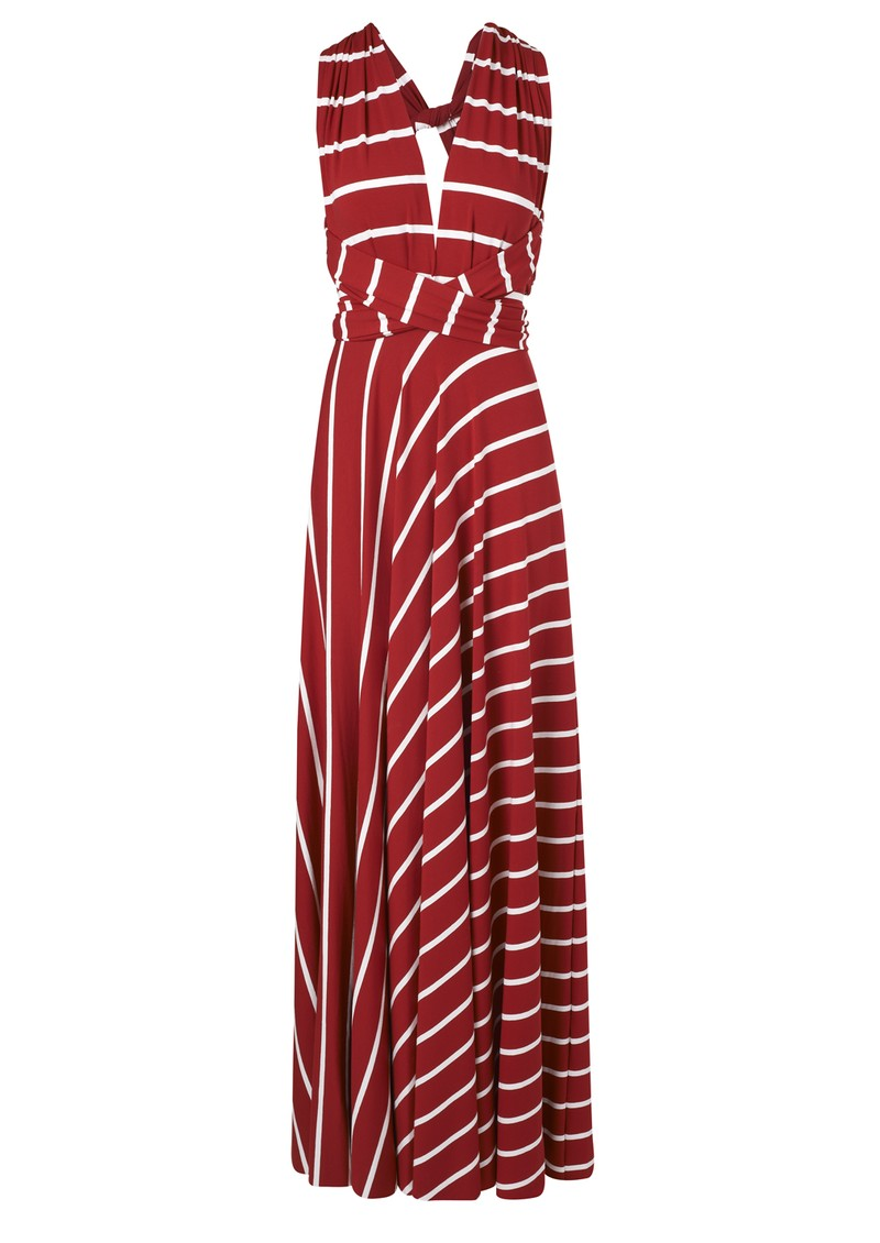 Butter By Nadia Long Wrap Jersey Dress - Red Stripe main image