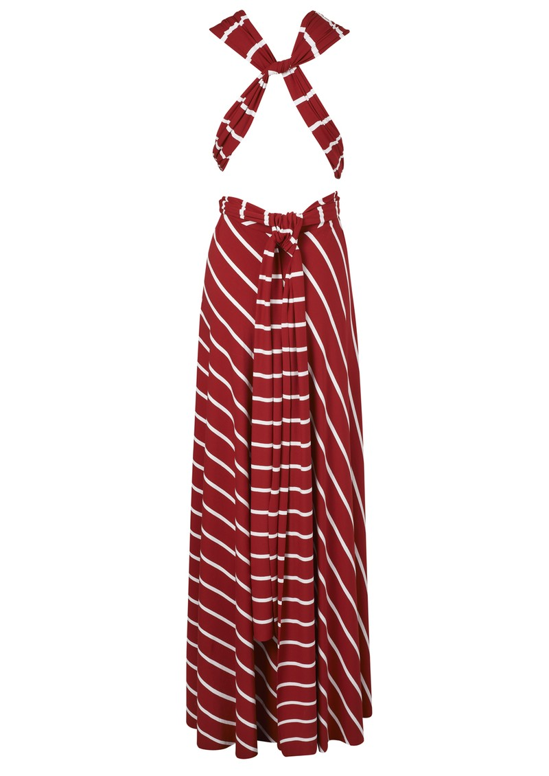 Butter By Nadia Signature Long Wrap Jersey Dress In Red Stripe