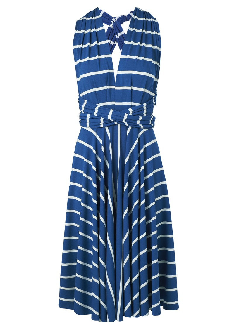 Signature Jersey Wrap Dress - Blue Stripe main image