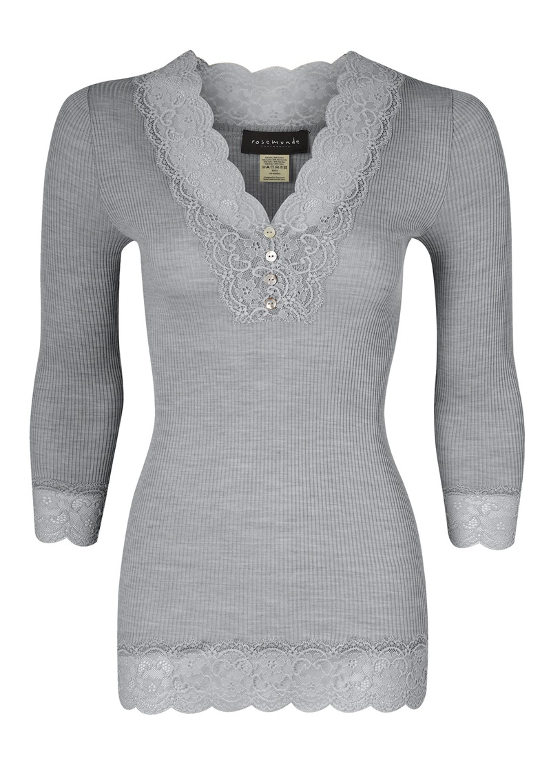 Rosemunde 3/4 Sleeve Lace Button Silk Top - Light Grey Melange  main image