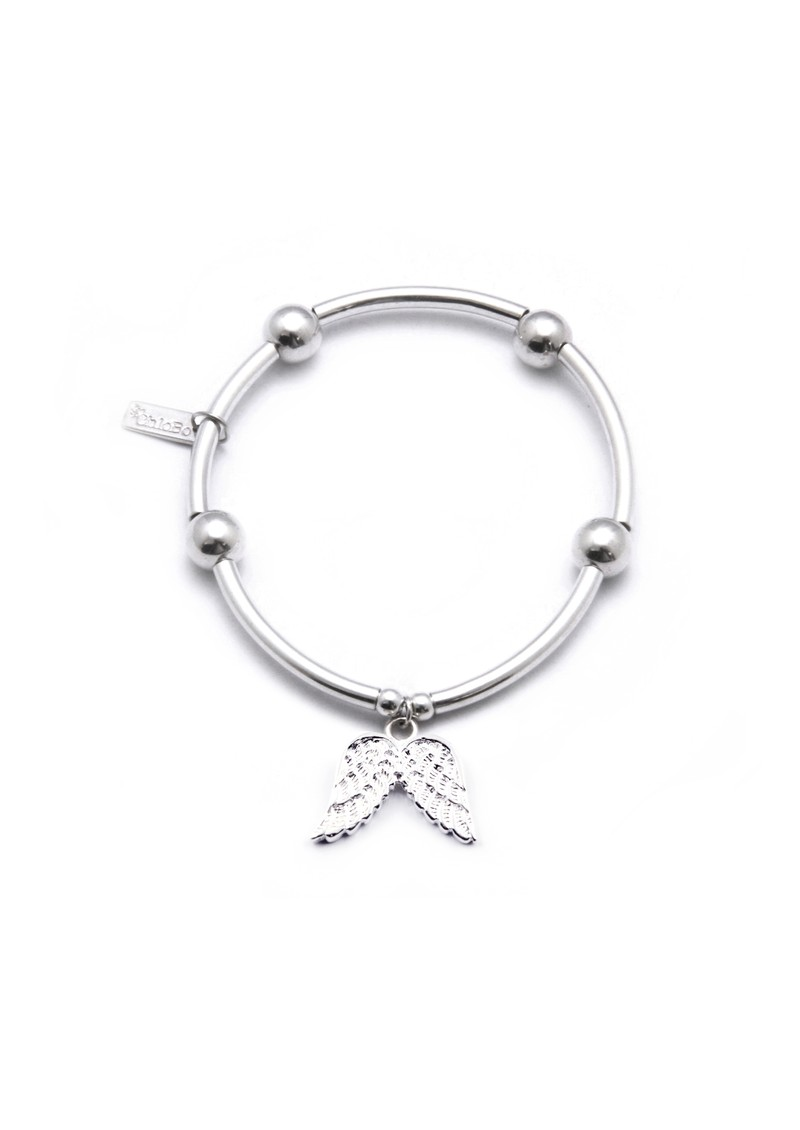ChloBo Noodle & Ball Bracelet with Angel Wing Charm - Silver main image