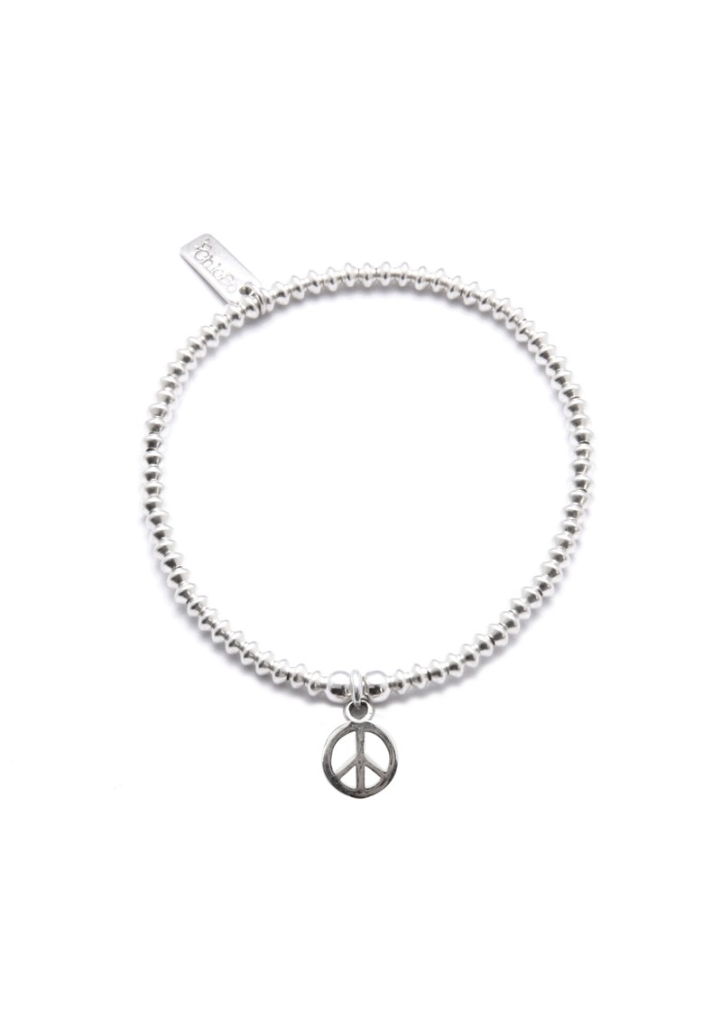 ChloBo Mini Disc Bracelet with Peace Charm - Silver main image