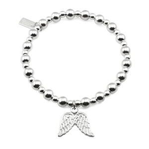 Mini Small Ball Bracelet With Double Wing Charm - Silver
