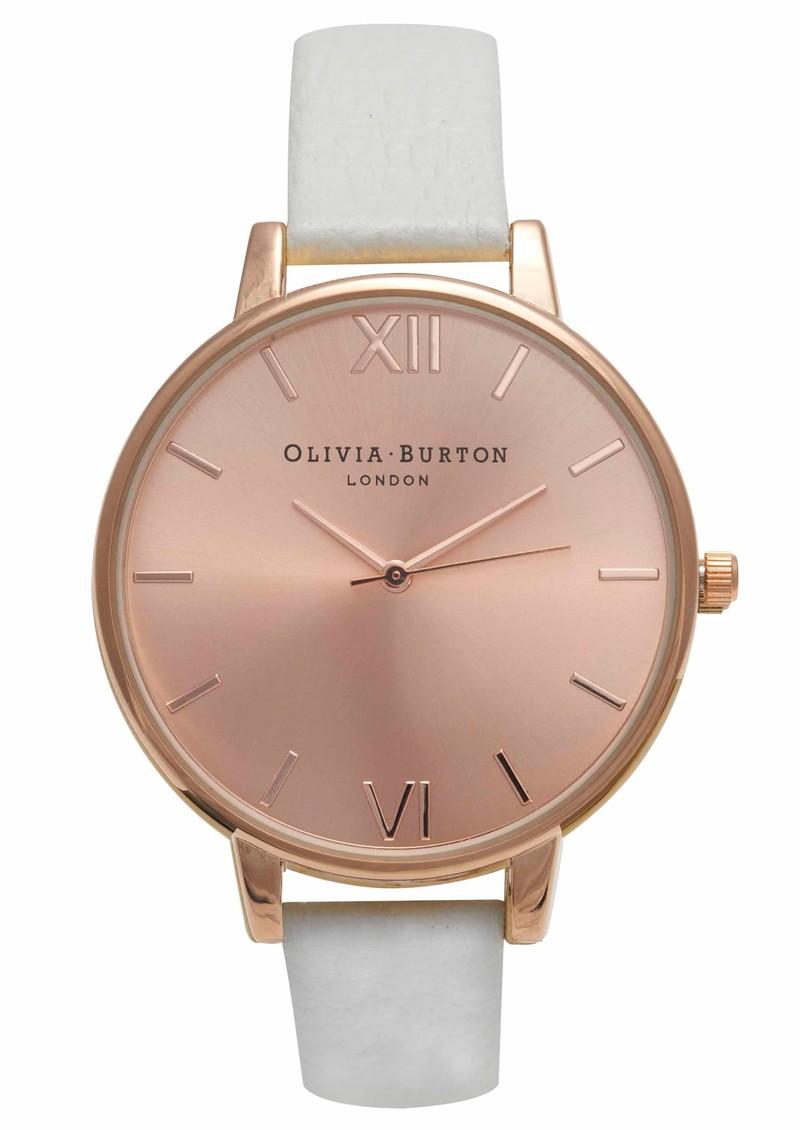 Olivia Burton Big Dial Rose Gold Plated Watch - White main image