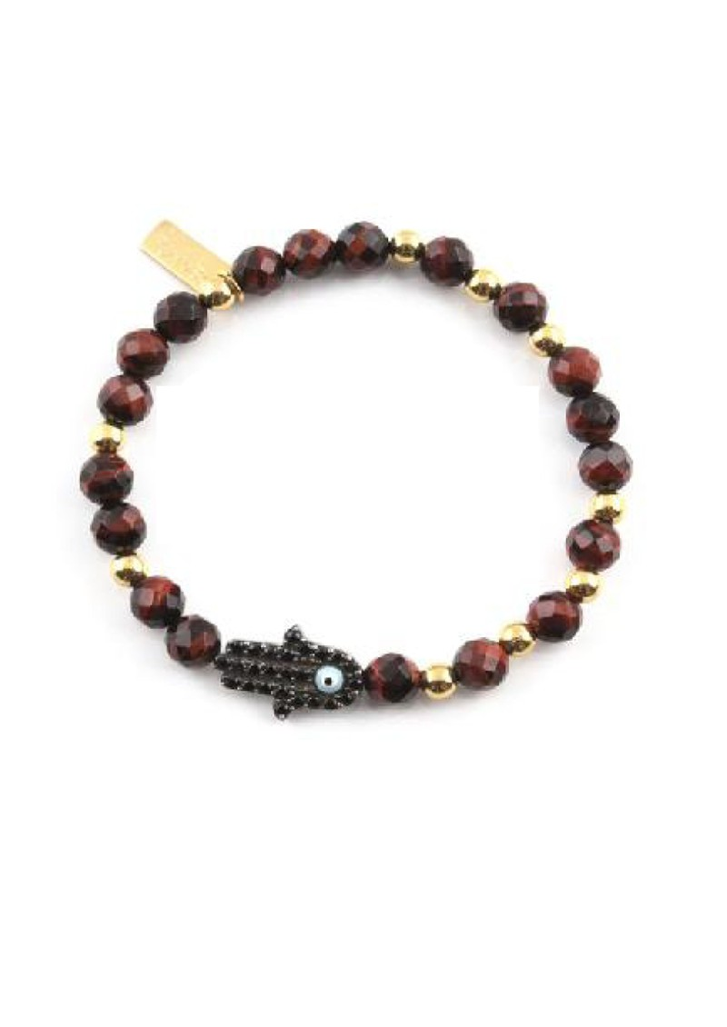 ChloBo Cloud 9 Red Tigers Eye Bracelet with Inset Hamsa Hand - Red & Gold main image