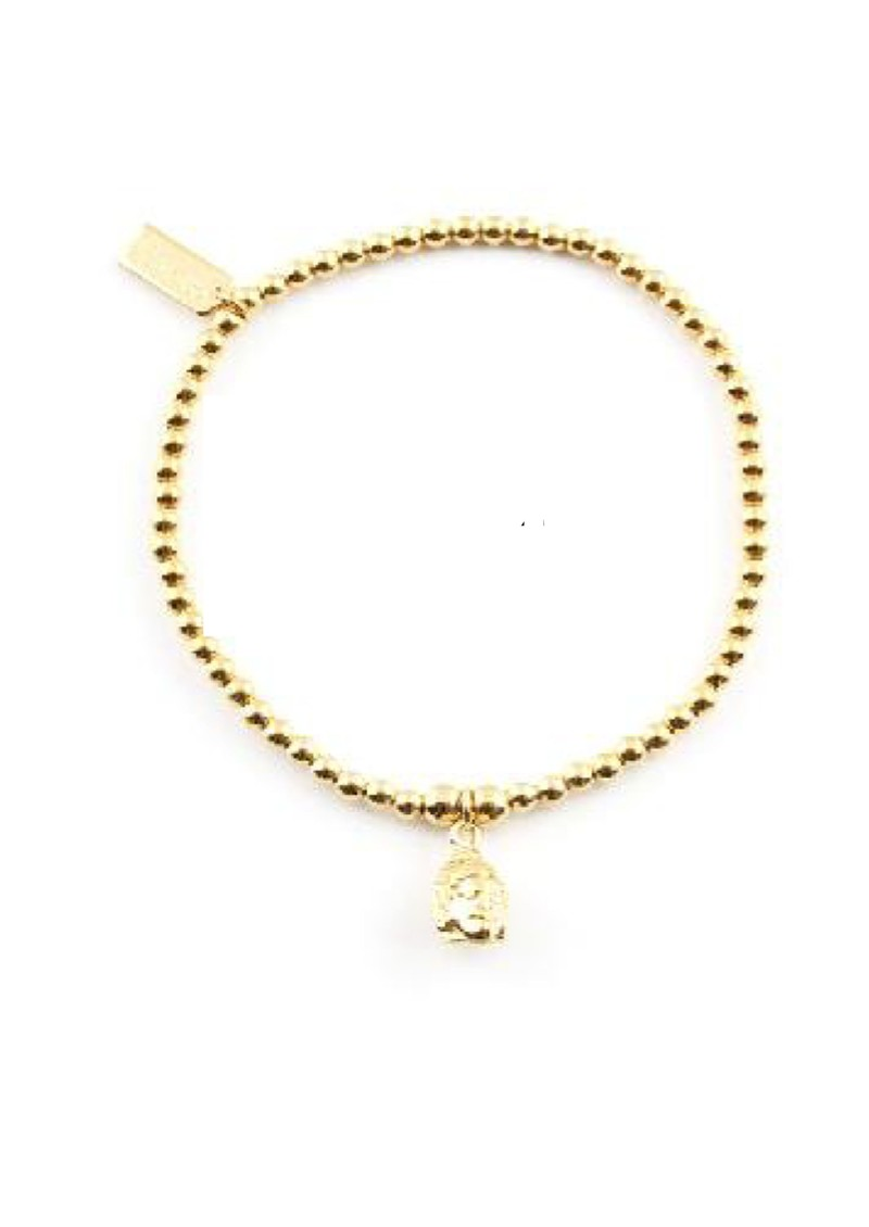 Cute Charm Bracelet with Buddha Head Charm - Gold main image