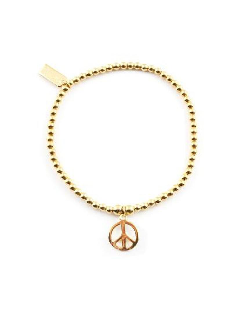 ChloBo Cloud 9 Gold Cute Charm Bracelet with Peace Charm - Gold main image