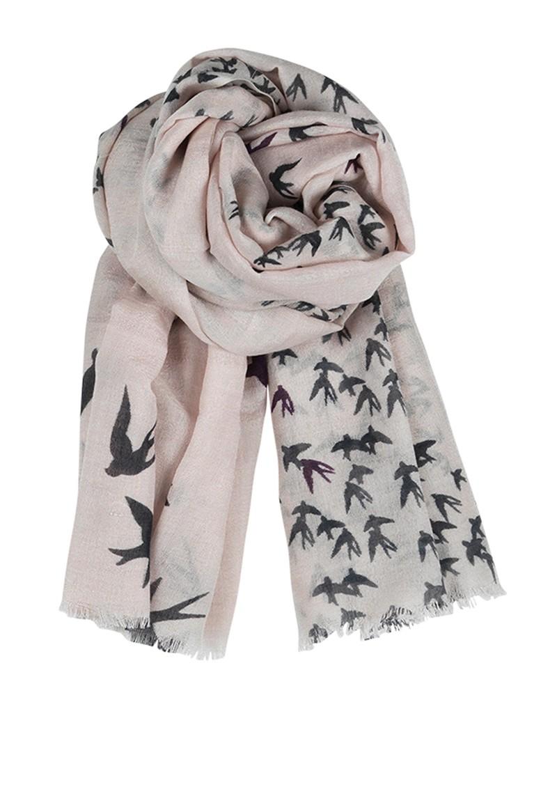 Becksondergaard F Black Birds Silk & Wool Blend Scarf - Cat Grey  main image