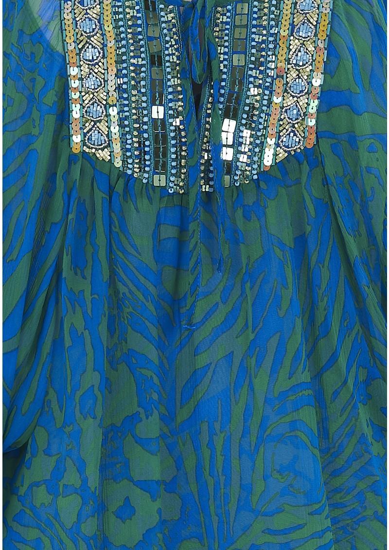 Hale Bob Zebra Silk Beaded Print Tunic - Blue main image