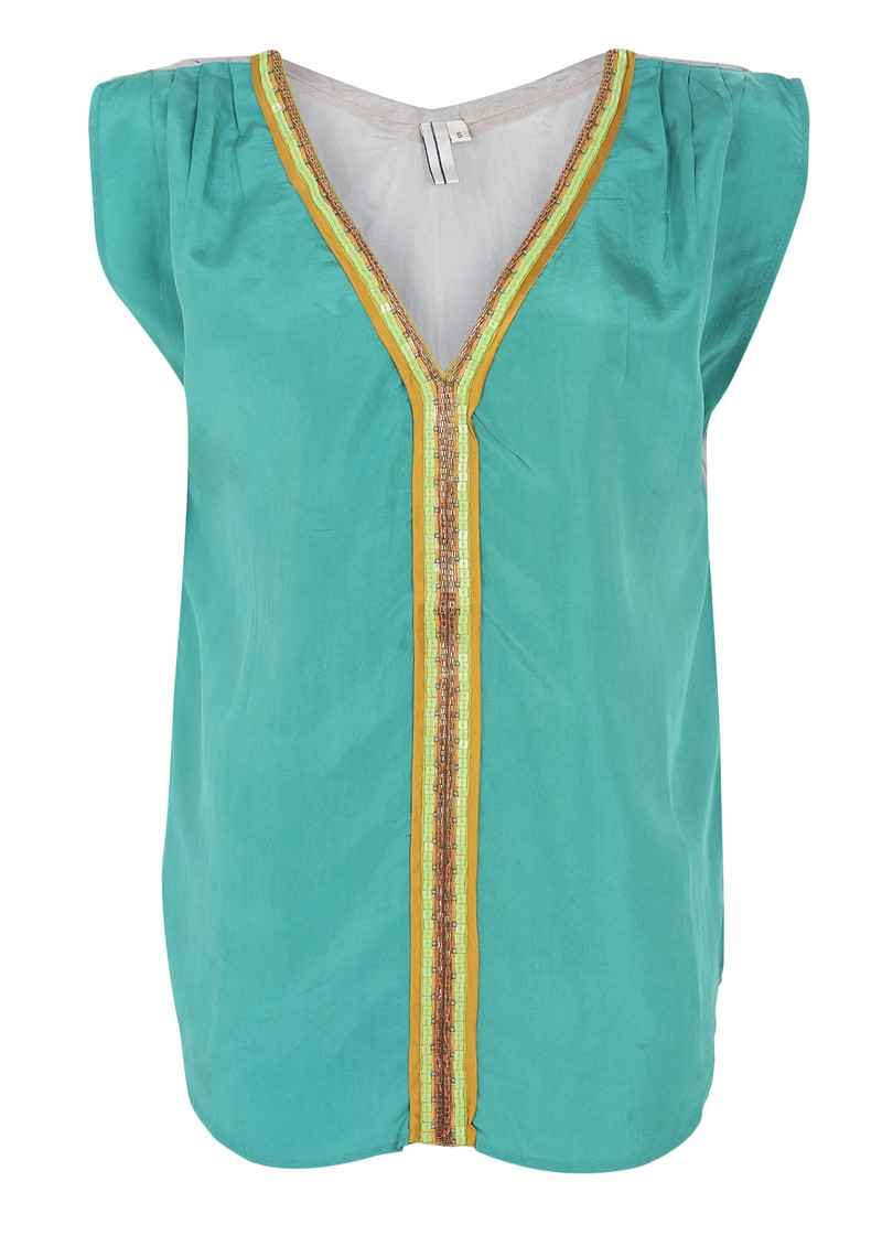 Blank Palma Silk Top - Turquoise  main image