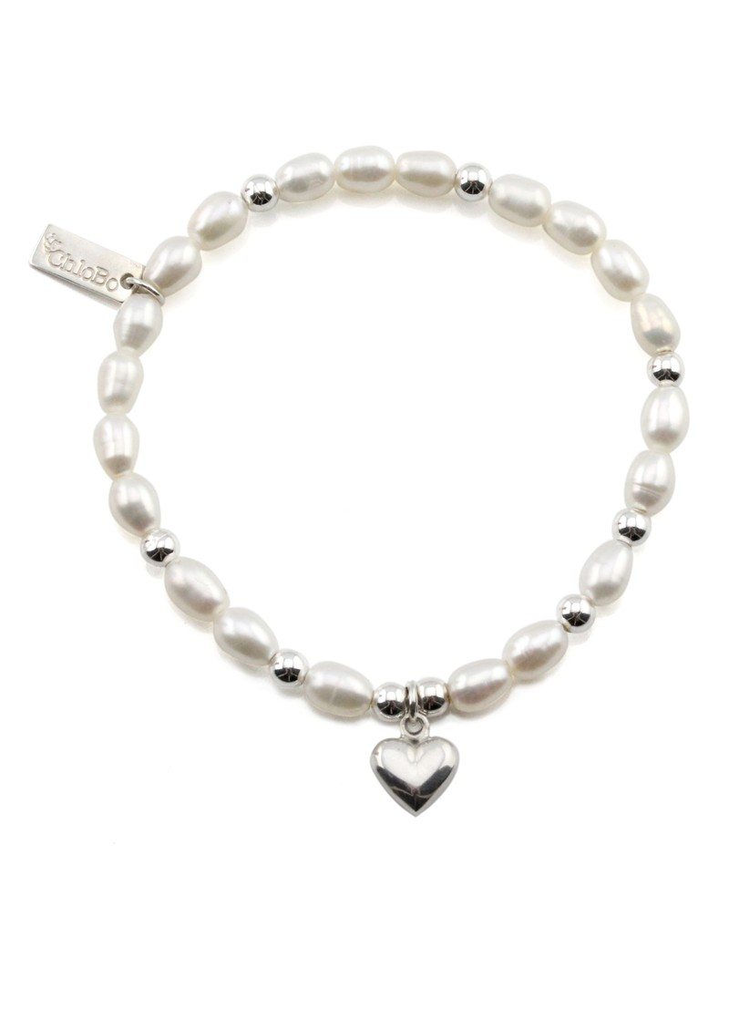 Small Pearl Bracelet with Puffed Heart Charm - Pearl & Silver main image