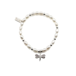 Mini Pearl Bracelet with Dragonfly Charm - Pearl