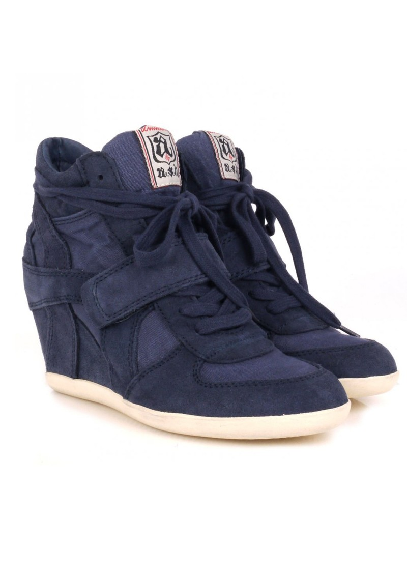 Bowie Canvas and Suede Wedge Trainer - Navy main image