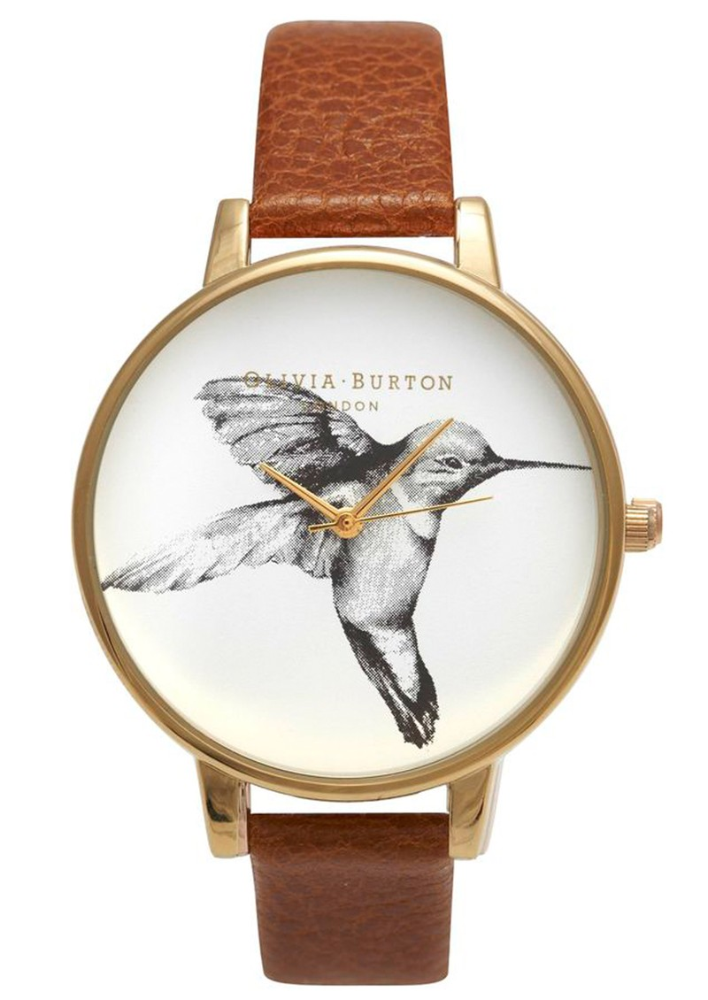 Olivia Burton Exclusive Big Dial Hummingbird Watch - Tobacco main image