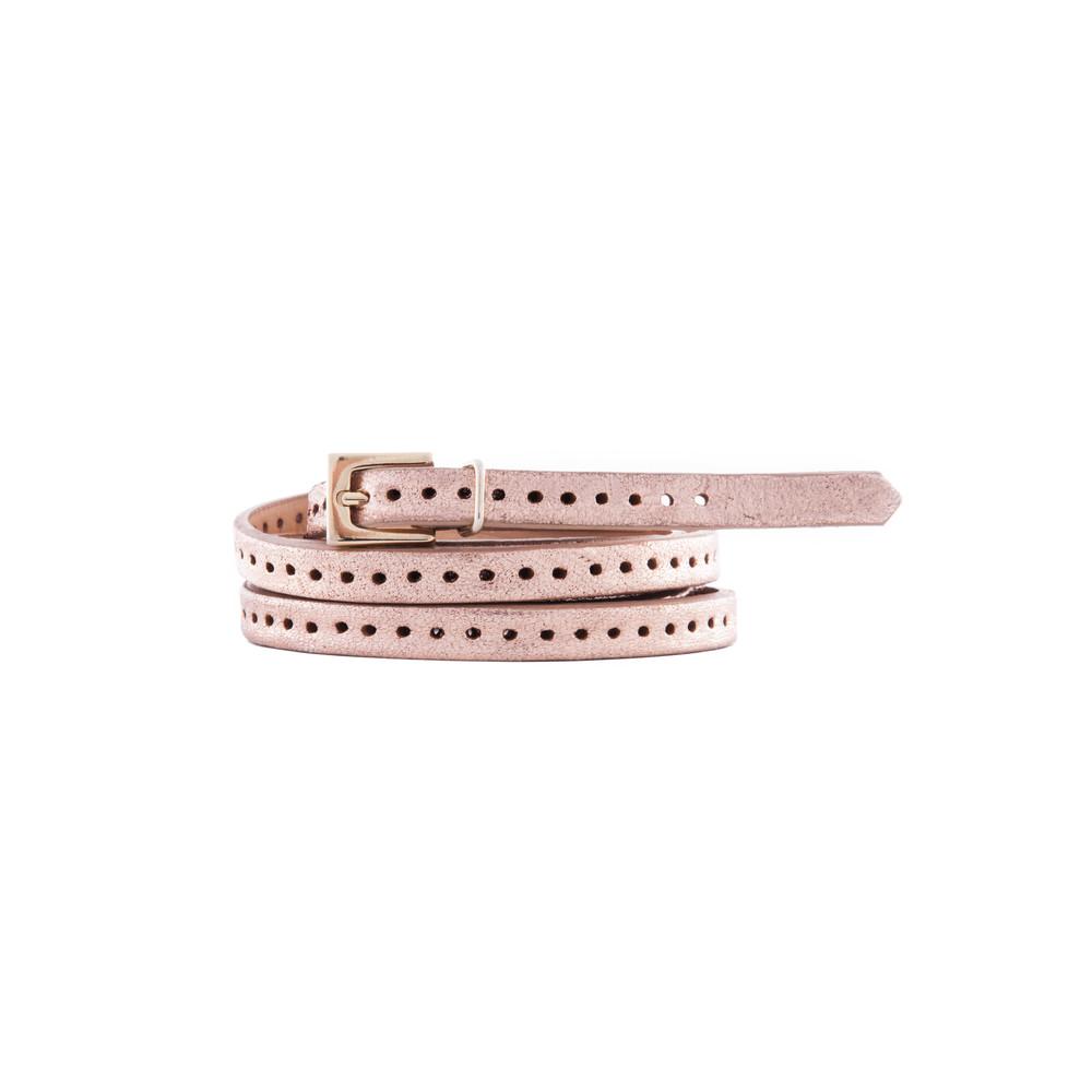 Orla 2 Double Wrap Skinny Belt - Rose Gold