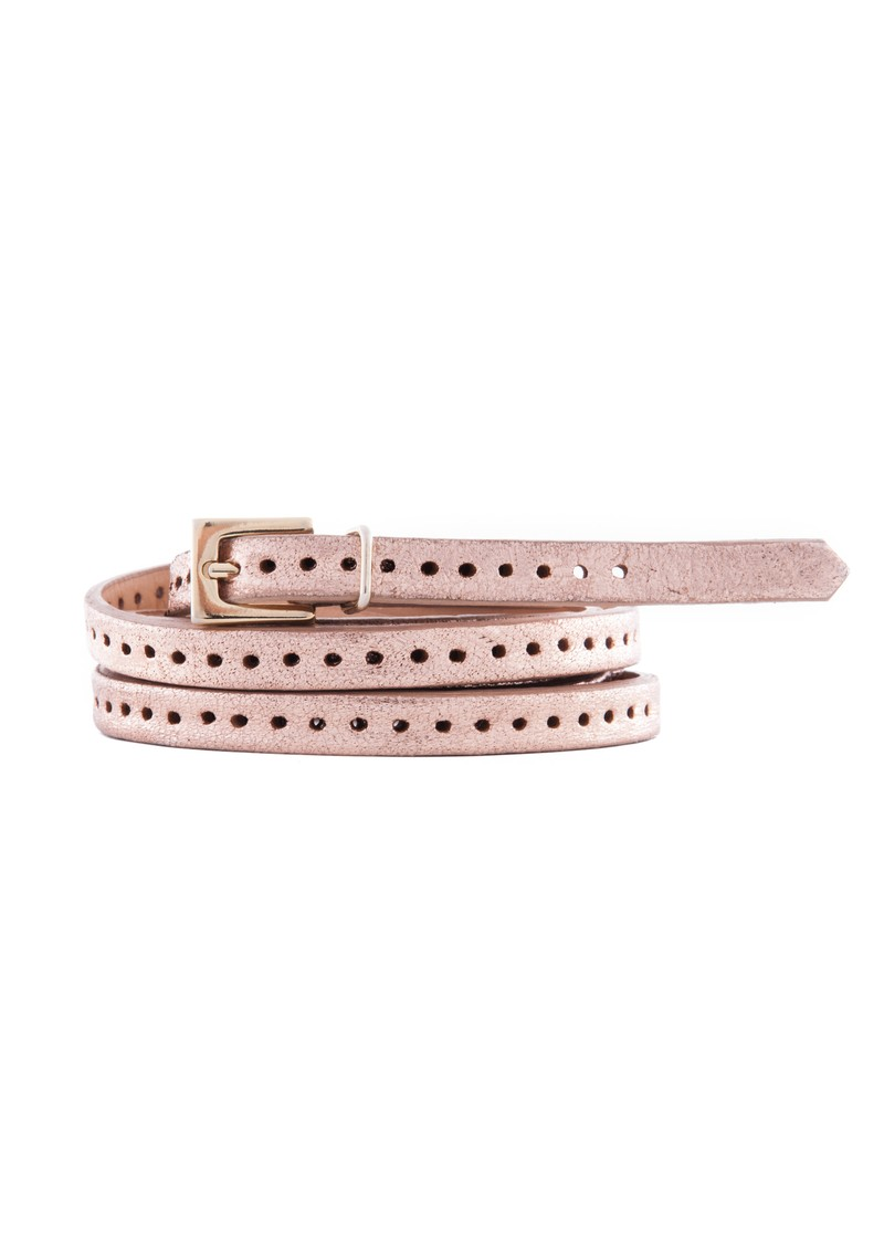 Black & Brown  Orla 2 Double Wrap Skinny Belt - Rose Gold main image