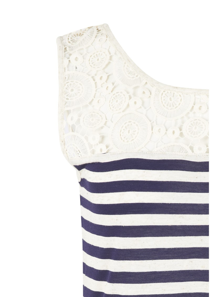 Great Plains Lilianna Striped & Lace Top - Arabian Sea & Natural  main image