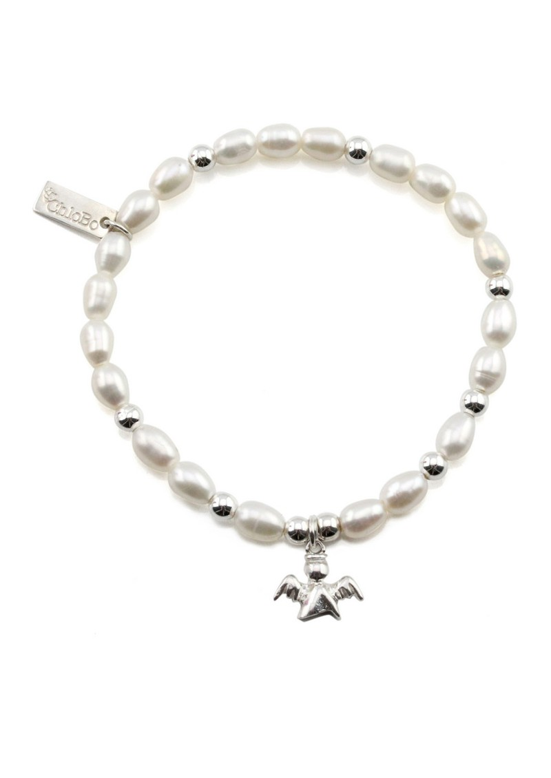 ChloBo Small Pearl Bracelet with Angel Charm - Pearl & Silver main image