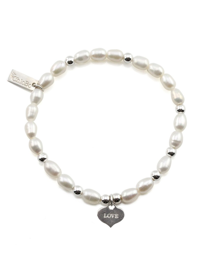 ChloBo Small Pearl Bracelet with Love Always Charm - Pearl & Silver main image